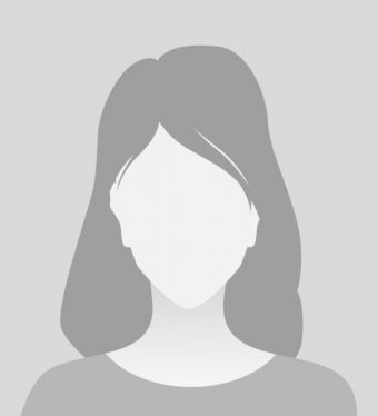 Person gray photo placeholder woman in T-shirt on gray background